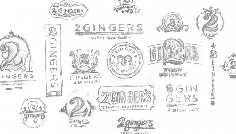 two gingers sketched logos