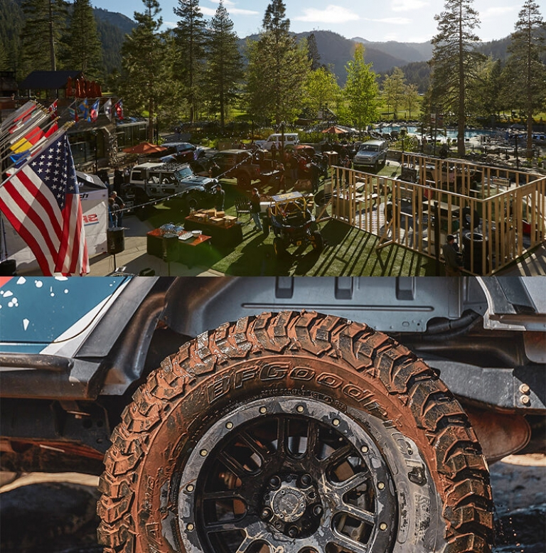 trucks in the mountains and an image of a tire
