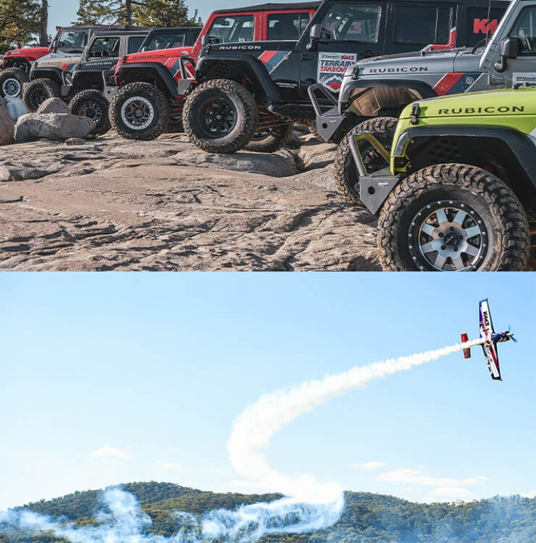 two images of jeeps and planes