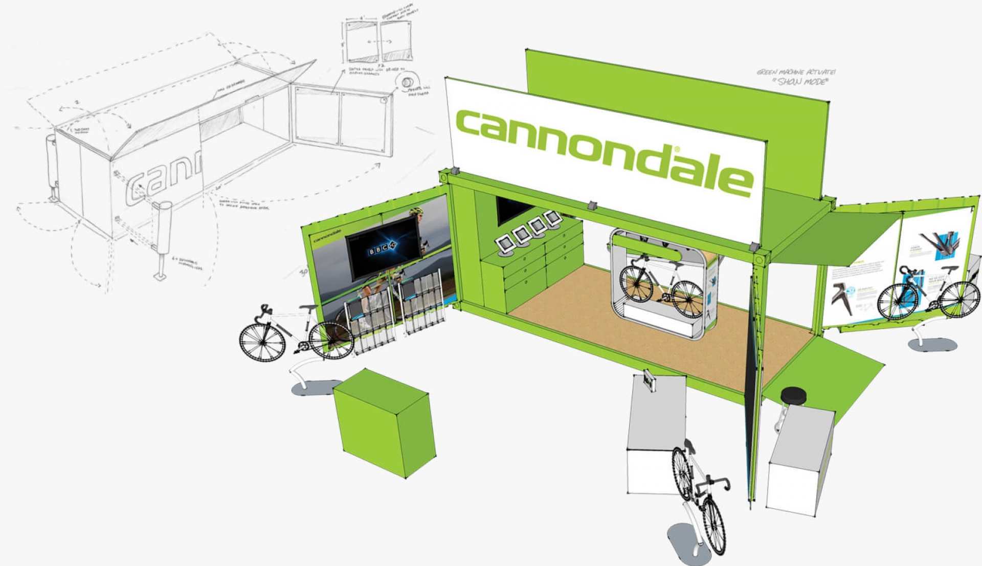 mockup of the cannondale mobile experience booth