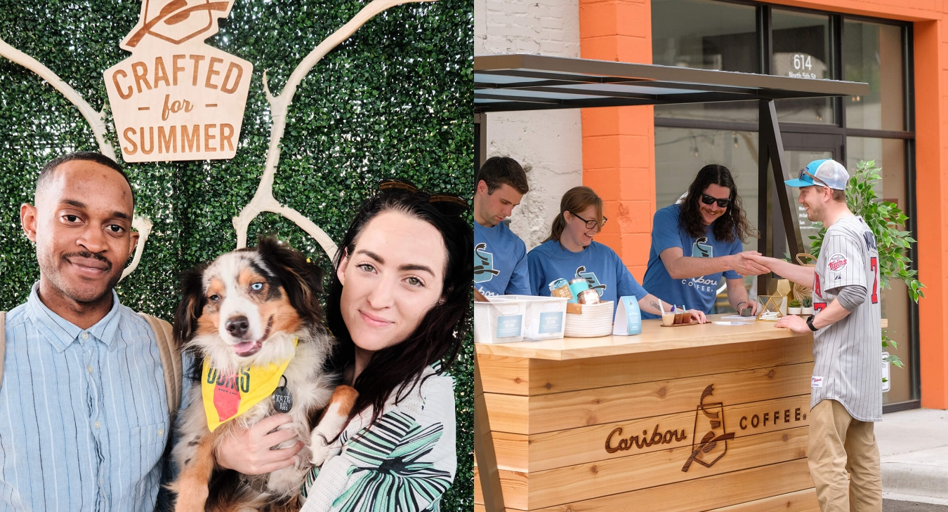 couple holding dog next to crafted for summer sign and a caribou coffee booth