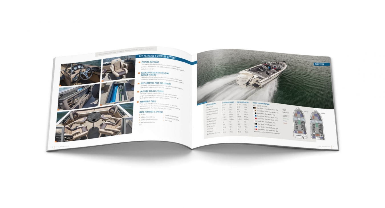 features and 360 view from boat catalog