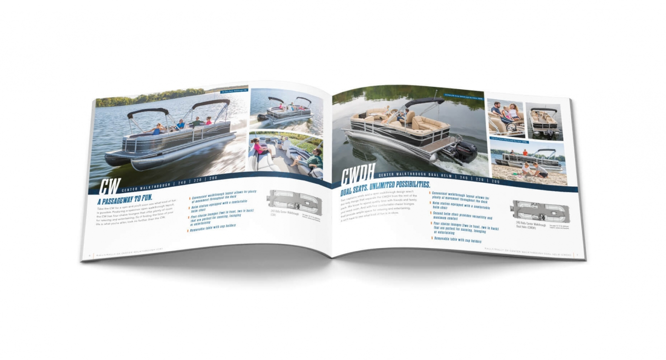 pontoon features and benefits pages from catalog
