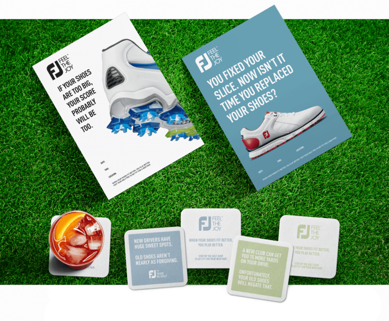 footjoy ad graphics over a grass background