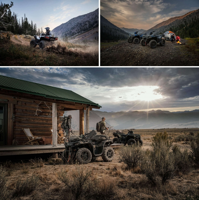 collage of hunters camping with their polaris atvs