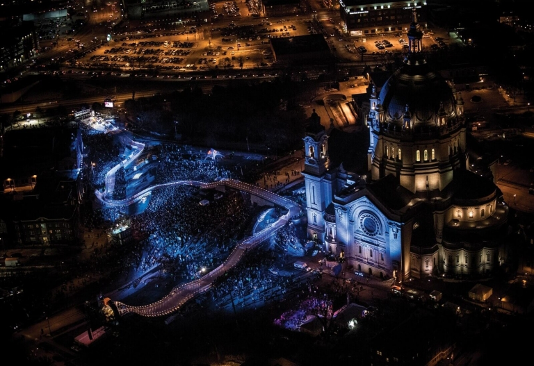aerial view of the crashed ice course in front of the cathedral