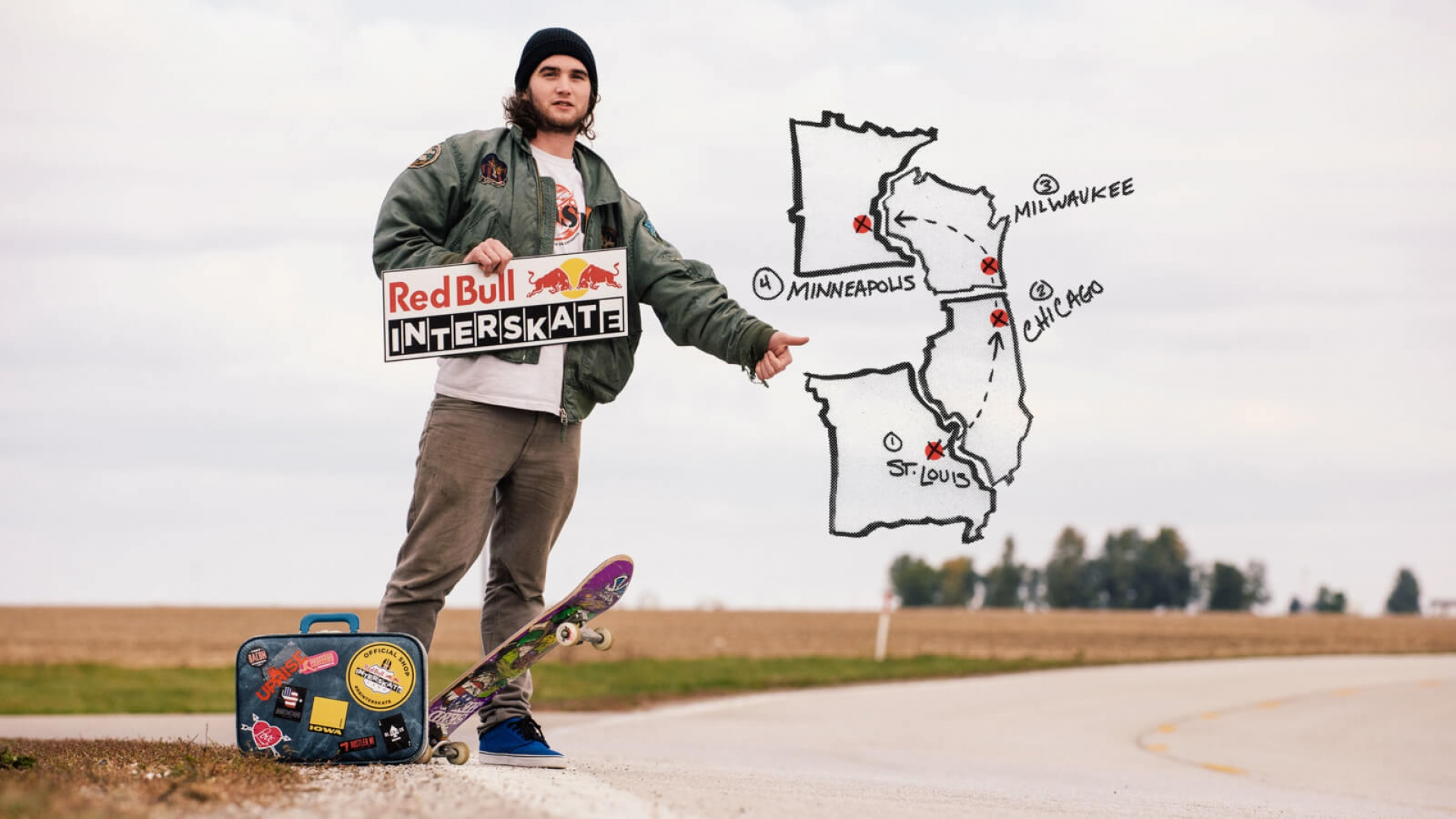 skater hitchhiking