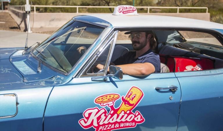 kris driving around in his prank car