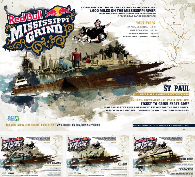 artistic graphic of the mississippi grind campaign