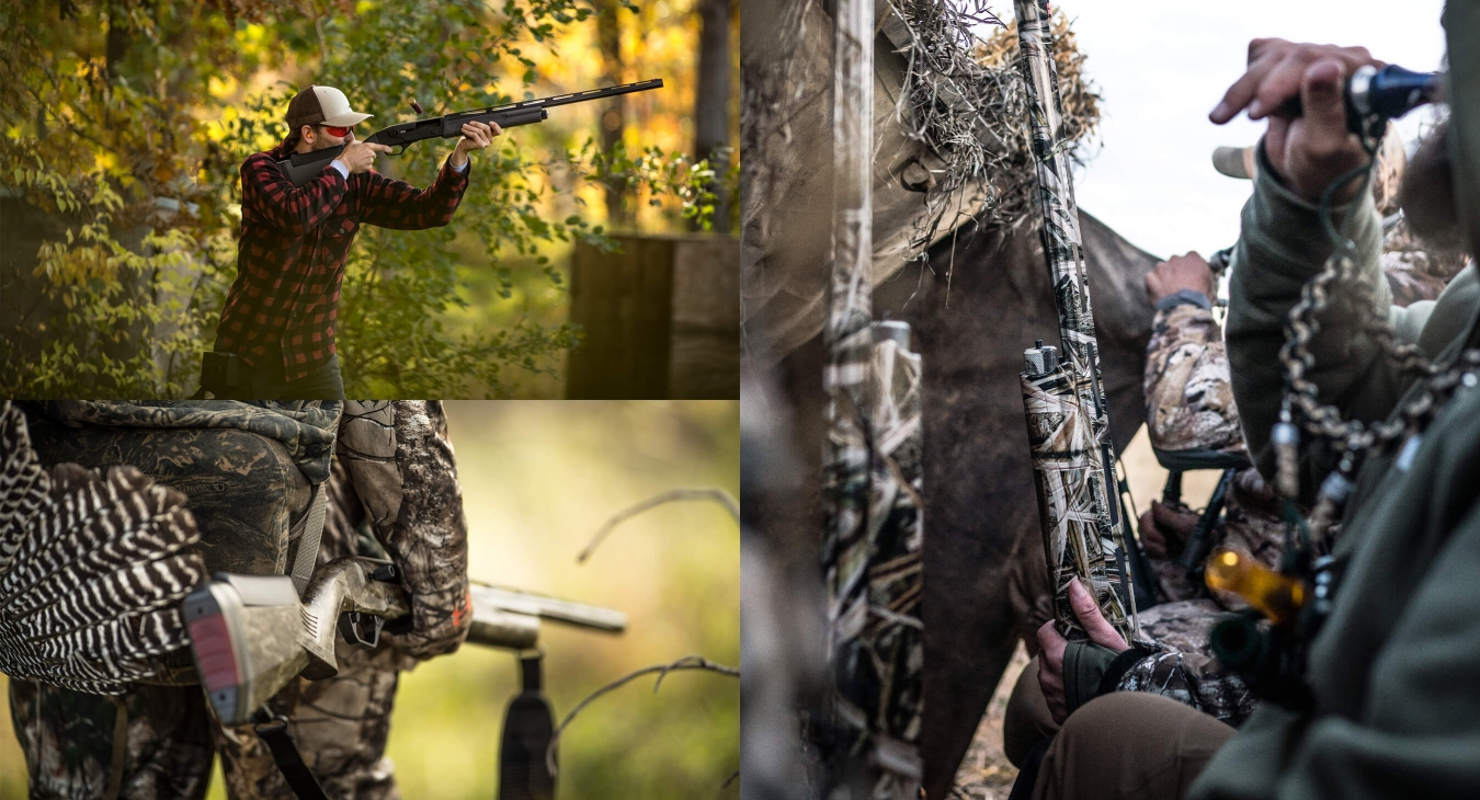 collage of hunters with their gear