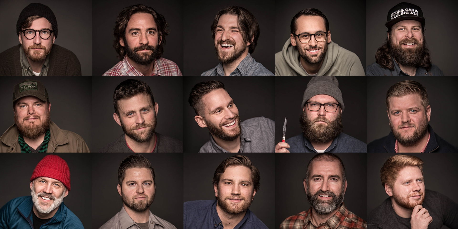 collage of the sixspeed team members with beards