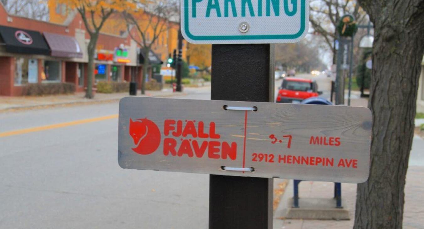 fjall raven sign on street parking sign