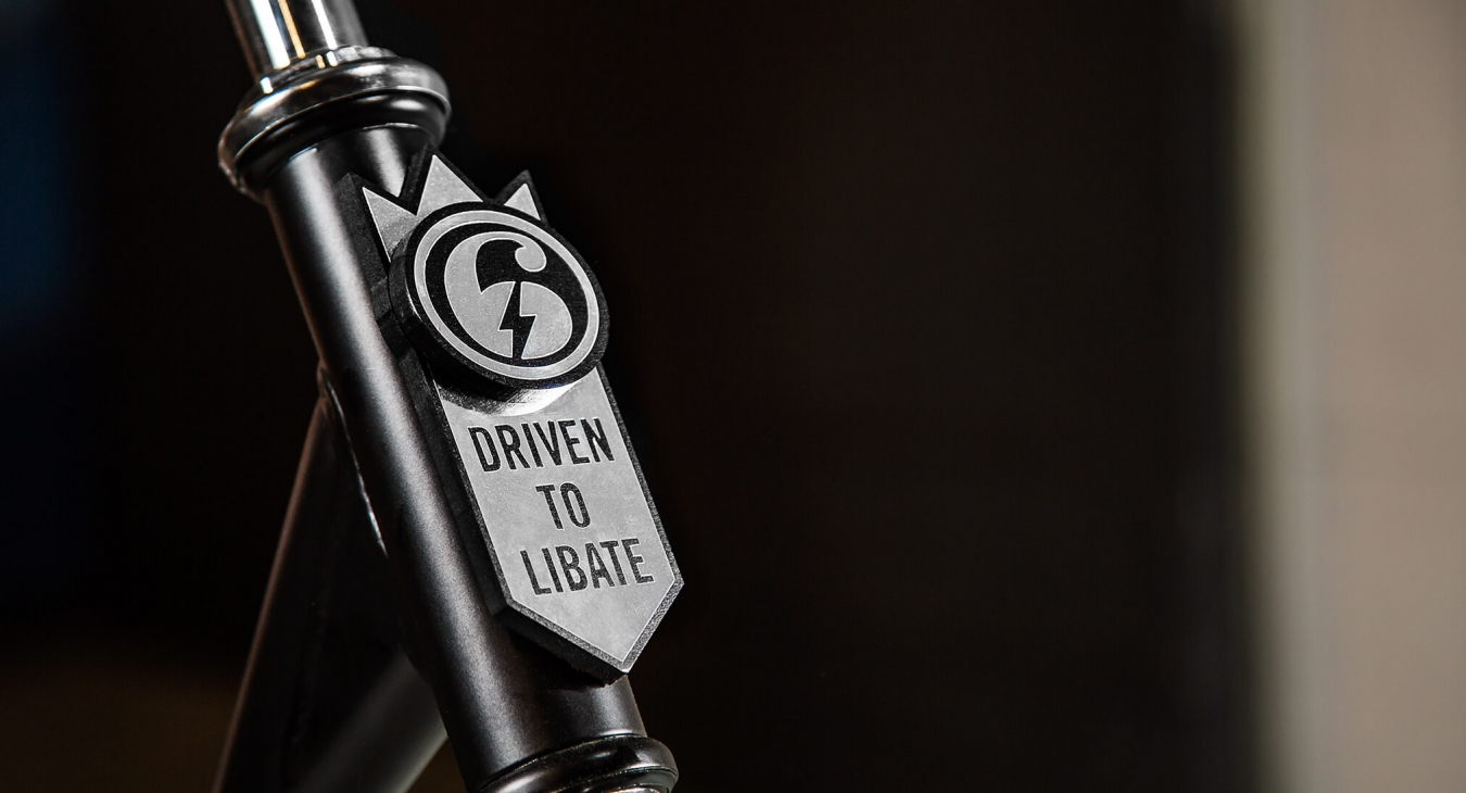 tap handle with driven to libate written on it